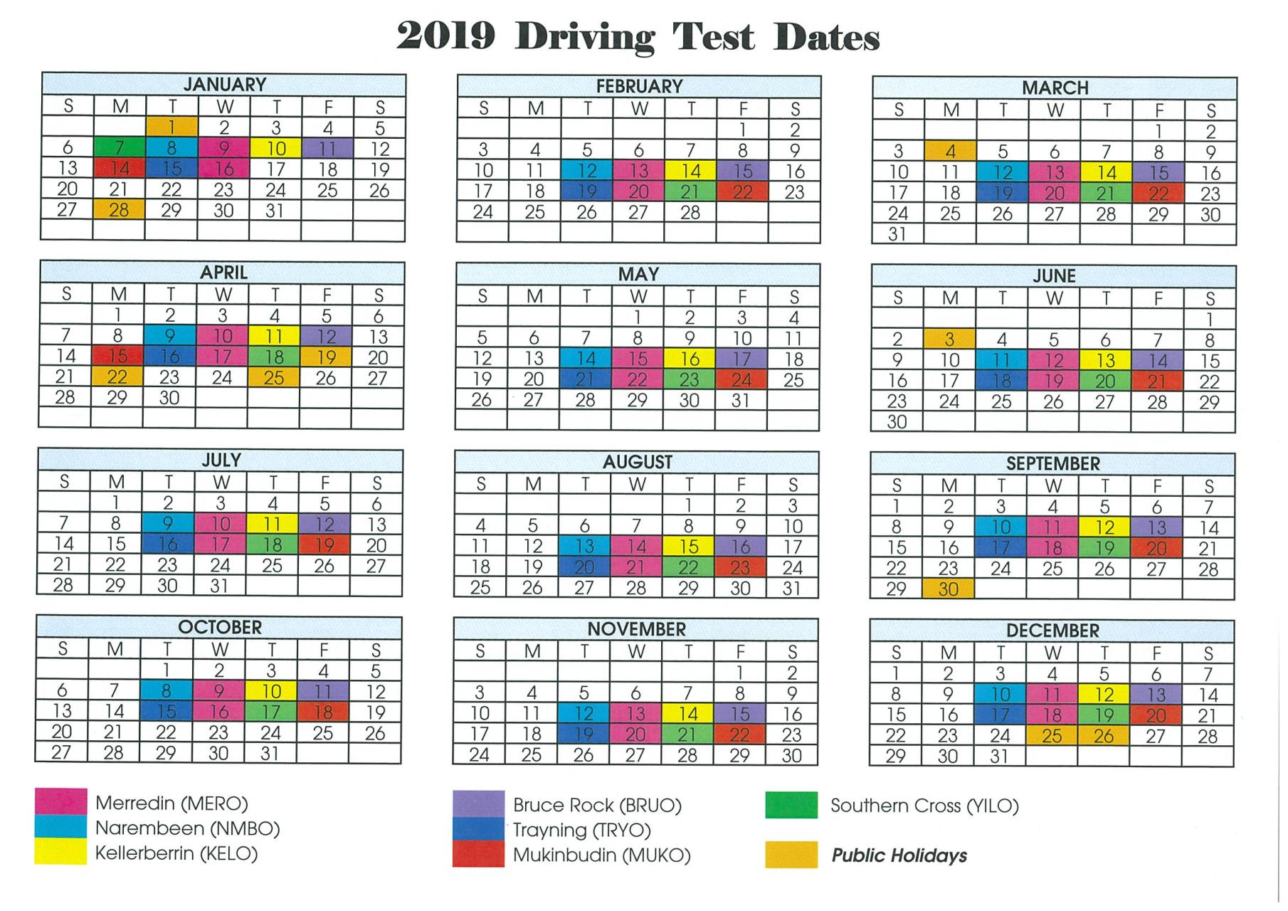 2019 Practical Driving Assessment Dates