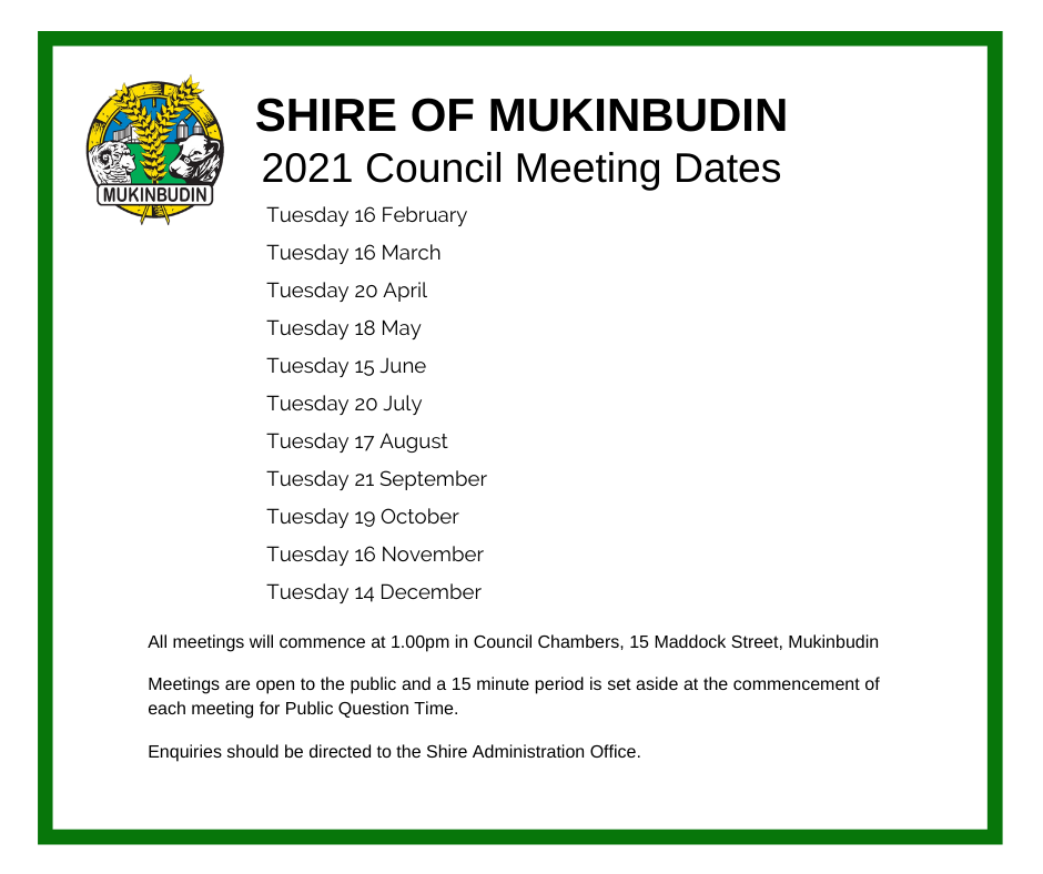 Council Meeting Dates 2021
